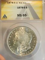 1878 S MORGAN SILVER $1 DOLLAR MINT STATE 65 ANACS  CERTIFIED 761