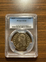 1829-P CAPPED BUST SILVER HALF DOLLAR 50C PCGS VF 30 TYPE 1, LETTERED EDGE