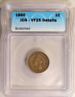 1860 INDIAN HEAD CENT 1C PENNY CIRCULATED ICG VF25 DETAILS SCRATCHED