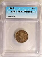 1862 INDIAN HEAD CENT 1C PENNY CIRCULATED ICG VF30 DETAILS CORRODED