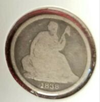 1838-O SEATED LIBERTY DIME VARIETY 1 GOOD--GOOD CONDITION  90 SILVER