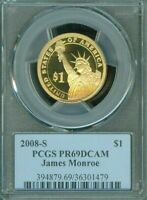 2008-S JAMES MONROE ONE DOLLAR PCGS PR69DCAM PROOF COIN IN HIGH GRADE