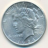 1924-S PEACE SILVER DOLLAR-BEAUTIFUL GENTLY CIRCULATED DOLLAR-SHIPS FREE INV:2