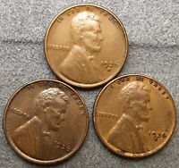 1936-P 1936-D 1936-S  LINCOLN WHEAT CENTS 3 COINS  FREE SHIP.B546