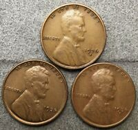 1936-P 1936-D 1936-S  LINCOLN WHEAT CENTS 3 COINS  FREE SHIP. E287