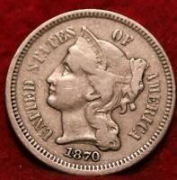 1870  THREE  CENT  NICKEL  MINTED  IN  PHILADELPHIA