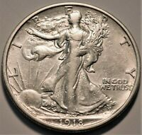 1918 S WALKING LIBERTY HALF DOLLAR HIGHER GRADE DETAILS BETT