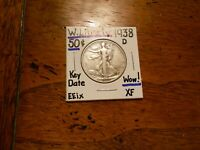 1938D WALKING LIBERTY HALF DOLLAR XF WOW        KEY DATE