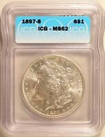 1897-S MORGAN DOLLAR SILVER S$1 BRILLIANT UNCIRCULATED ICG MINT STATE 62