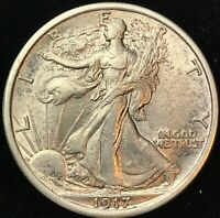 1917P  WALKING  LIBERTY SILVER HALF DOLLAR   NICE BRIGHT CIR
