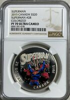 2015 CANADA SUPERMAN 28  $20 SILVER NGC PF70 ULTRA CAMEO