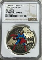 2016 CANADA SUPERMAN THE MAN OF STEEL  $20 SILVER NGC PF70 U
