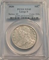 1830 50C PCGS XF 45 CAPPED BUST SILVER HALF DOLLAR LARGE 0 C