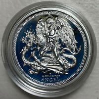 2017 ISLE OF MAN 2 OUNCE HIGH RELIEF SILVER ANGEL PROOF IN O