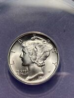 FROSTY WHITE ANACS MS 63 SILVER 1945 S WINGED LIBERTY MERCUR