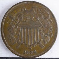 1864 TWO CENT PIECE XF 180 ROTATED REVERSE