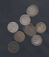 1858 1901 CANADA 5 CENTS SILVER COINS   LOT OF 10