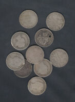 1858 1901 CANADA 10 CENTS SILVER COINS   LOT OF 10