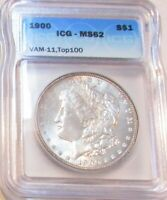 1900P MORGAN DOLLAR MINT STATE 62 VAM-11 TOP 100