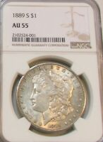 1889S MORGAN DOLLAR AU-55