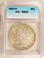 1891-S MORGAN DOLLAR SILVER S$1 CHOICE UNCIRCULATED ICG MINT STATE 63