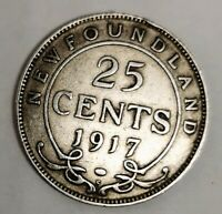NEW FOUNDLAND 1917 25 CENTS GEORGE V STERLING SILVER GVF COI