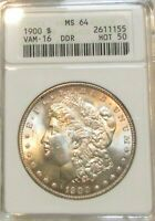 1900 MORGAN DOLLAR DOLLAR  VAM-16  DDR MINT STATE 64 HOT-50