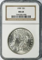 1900 MORGAN SILVER DOLLAR $1 NGC MINT STATE 64