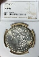 1878-S NGC MINT STATE 65 MORGAN SILVER DOLLAR