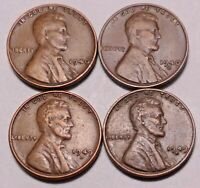 1940 P 1940 D 1949 D 1949 S LINCOLN WHEAT CENT PENNY - 4 COINS - SHIPS FREE
