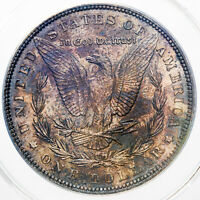 1889 MORGAN SILVER DOLLAR VAM-10 ANACS MINT STATE 63 DARK UNIQUE TONING ON REVERSE