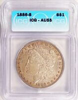 1886-S MORGAN DOLLAR SILVER S$1 ALMOST UNCIRCULATED ICG AU55
