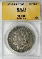 1898-S MORGAN SILVER DOLLAR $1 ANACS VF30 DETAILS - CLEANED