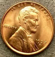 1937 S  UNCIRCULATED BU RED RD - LINCOLN WHEAT CENT PENNY  FREE SHIP. E711