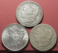 THREE 3 MORGAN SILVER DOLLARS 1896, 1897-S &1898-S    OLD COIN COLLECTION