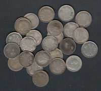 1911 20 CANADA 5 CENTS SILVER COINS   LOT OF 25