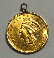 1857 US G$1 PRINCESS HEAD GOLD ONE DOLLAR COIN IN JEWELERY C