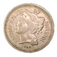 1866 THREE CENT PIECE NICKEL 3C US TYPE COIN COLLECTIBLE