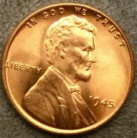 1945 P UNCIRCULATED BU RED RD - LINCOLN WHEAT CENT PENNY  FREE SHIP. B741