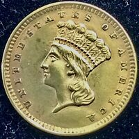 1857 $1 GOLD PIECE TYPE III   US COINS BEAUTIFUL COIN AU