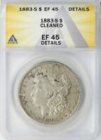 1883-S MORGAN SILVER DOLLAR $1 ANACS EF45 DETAILS - CLEANED