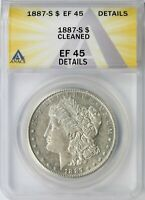 1887-S MORGAN SILVER DOLLAR $1 ANACS EF45 DETAILS - CLEANED