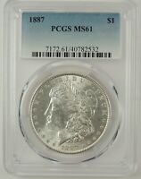 1887-P $1 MORGAN SILVER DOLLAR PCGS MINT STATE 61 40782532 -  MINT STATE COIN