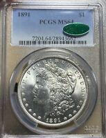 1891 PCGS/CAC MINT STATE 64 MORGAN SILVER DOLLAR