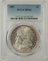1887-P $1 MORGAN SILVER DOLLAR PCGS MINT STATE 62 40782565  GREAT EYE APPEAL