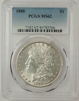 1888-P $1 MORGAN SILVER DOLLAR PCGS MINT STATE 62 40782566  GREAT EYE APPEAL