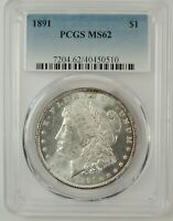 1891-P $1 MORGAN SILVER DOLLAR PCGS MINT STATE 62 40450510  GREAT EYE APPEAL