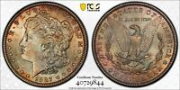 1887 MORGAN SILVER $1 DOLLAR BU PCGS MINT STATE 63 BEAUTIFUL COLOR TONED COIN