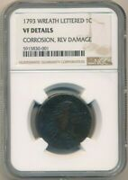1793 FLOWING HAIR LARGE CENT WREATH LETTERED- NGC VF DETAILS-SHIPS FREE