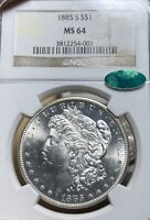 1885-S NGC/CAC MINT STATE 64 MORGAN SILVER DOLLAR